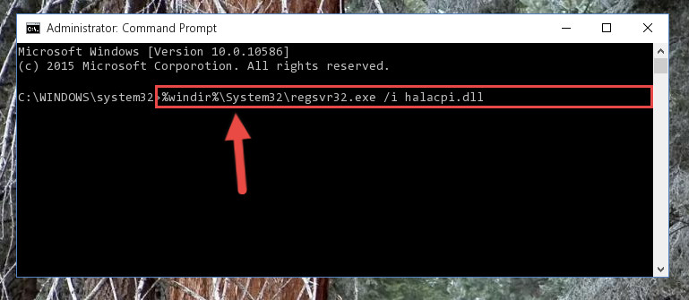 Reregistering the Halacpi.dll library in the system
