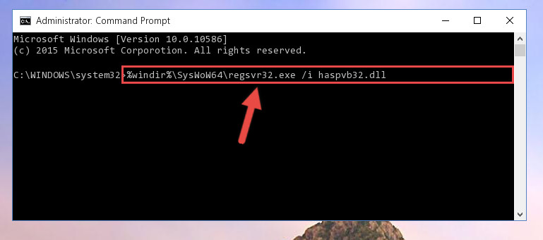 Reregistering the Haspvb32.dll library in the system (for 64 Bit)