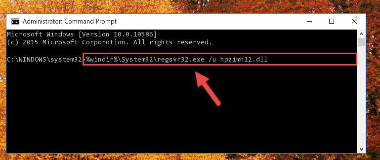 Deleting the Hpzimn12.dll library's problematic registry in the Windows Registry Editor