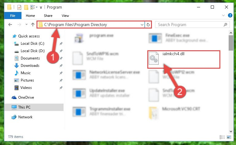 Pasting the Ialmkch4.dll library into the program's installation directory