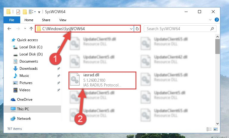 Pasting the Iasrad.dll file into the Windows/sysWOW64 folder