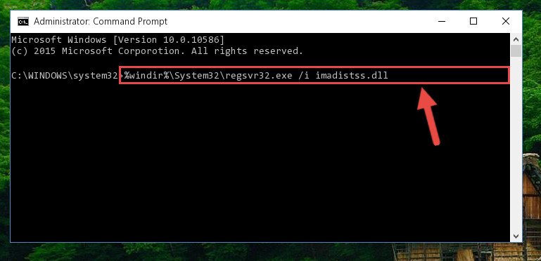 Creating a new registry for the Imadistss.dll library in the Windows Registry Editor