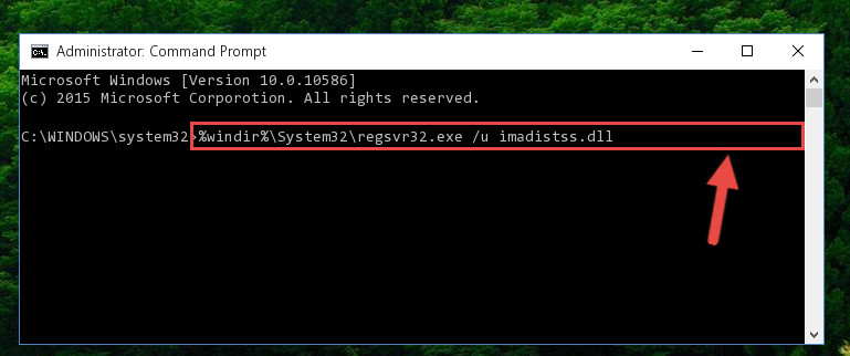 Deleting the Imadistss.dll library's problematic registry in the Windows Registry Editor