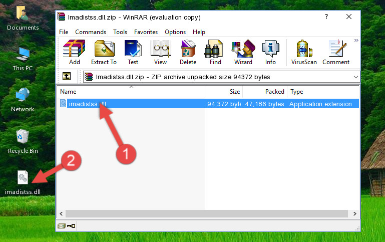 Extracting the Imadistss.dll library from the .zip file