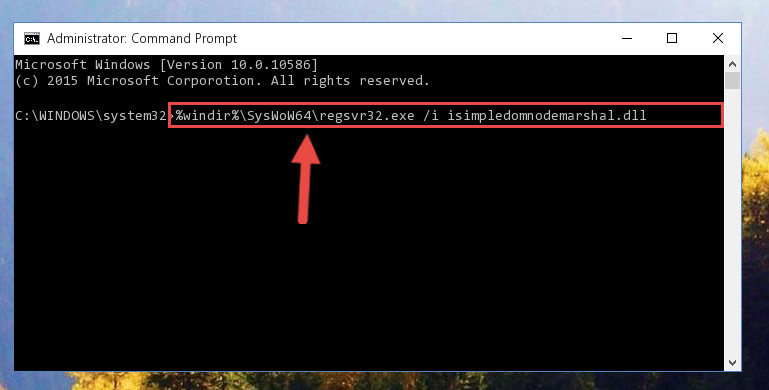 Reregistering the Isimpledomnodemarshal.dll file in the system (for 64 Bit)