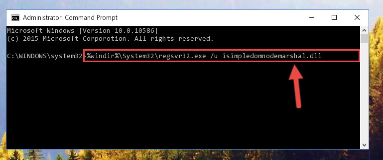 Uninstalling the Isimpledomnodemarshal.dll file from the system registry