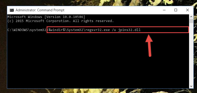 Uninstalling the Jpins32.dll file from the system registry