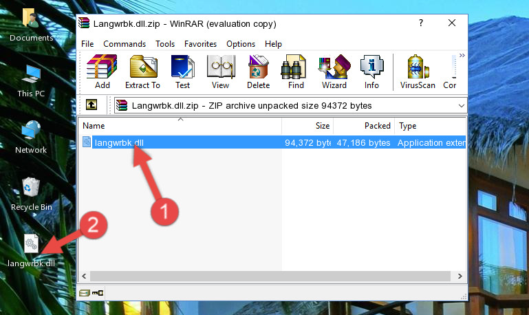 Extracting the Langwrbk.dll library from the .zip file