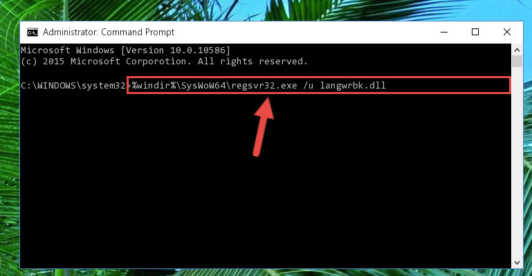 Uninstalling the damaged Langwrbk.dll library's registry from the system (for 64 Bit)