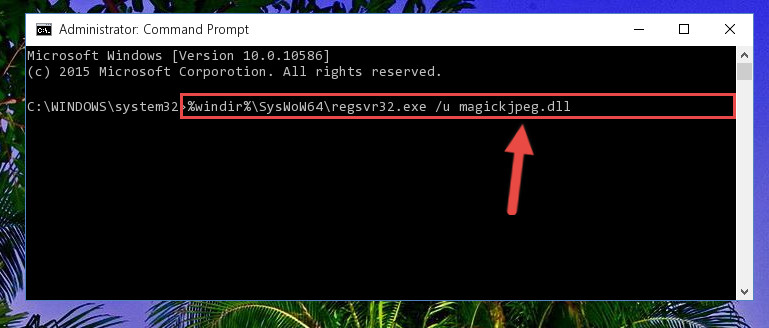 Uninstalling the damaged Magickjpeg.dll library's registry from the system (for 64 Bit)