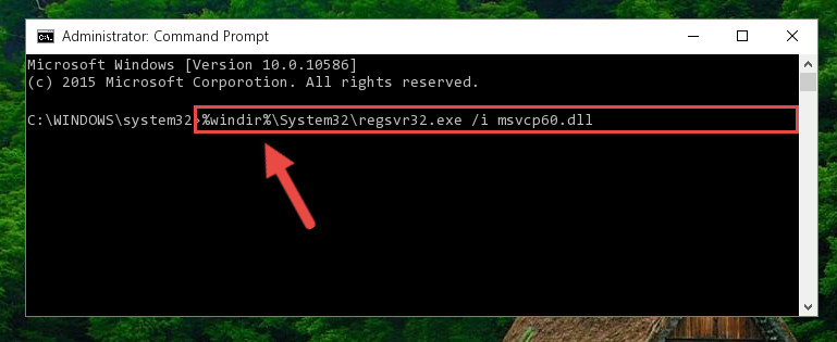 Reregistering the Msvcp60.dll library in the system