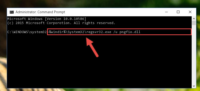Uninstalling the Pngfio.dll file from the system registry