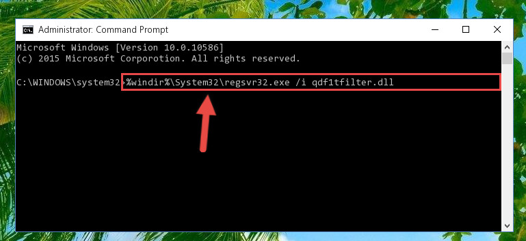 Creating a new registry for the Qdf1tfilter.dll file in the Windows Registry Editor