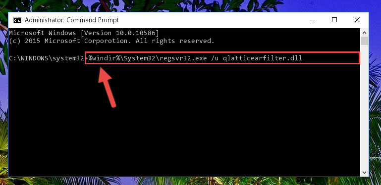 Deleting the Qlatticearfilter.dll library's problematic registry in the Windows Registry Editor