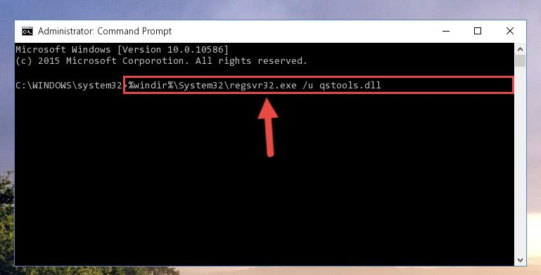 Uninstalling the Qstools.dll file from the system registry