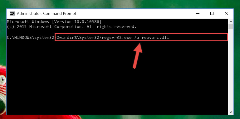 Deleting the Repvbrc.dll library's problematic registry in the Windows Registry Editor