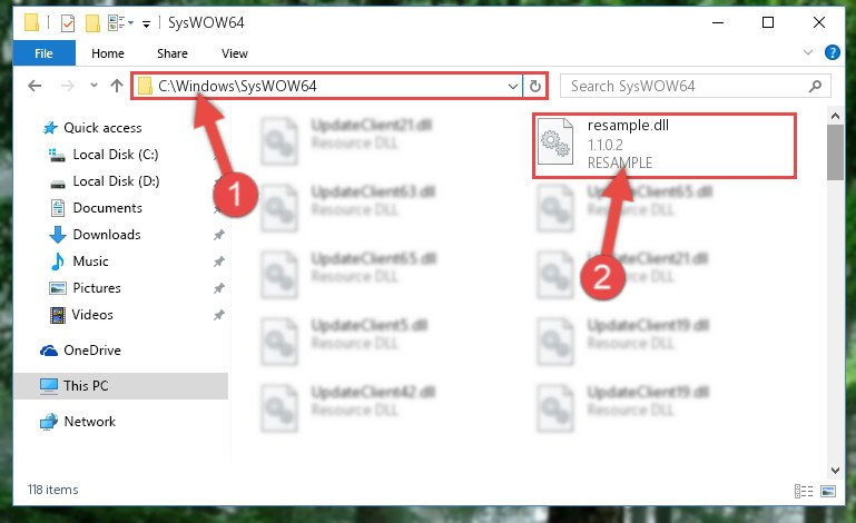 Copying the Resample.dll file to the Windows/sysWOW64 folder
