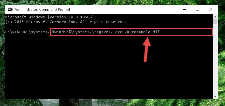Deleting the Resample.dll file's problematic registry in the Windows Registry Editor