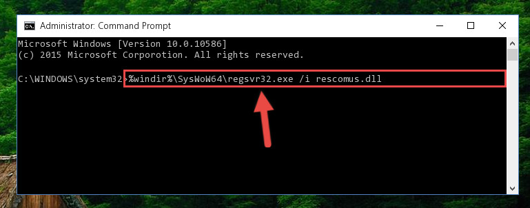 Creating a clean registry for the Rescomus.dll library (for 64 Bit)