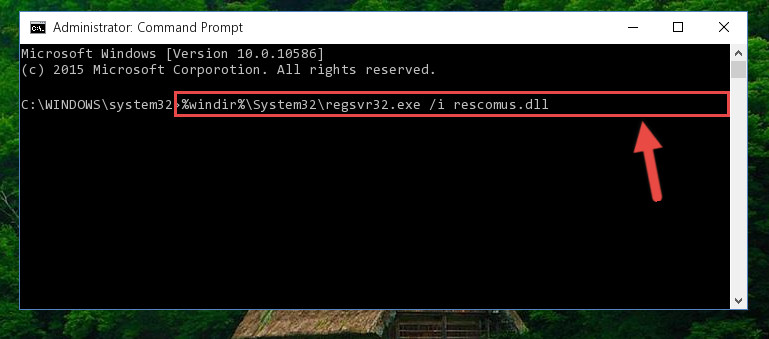 Reregistering the Rescomus.dll library in the system