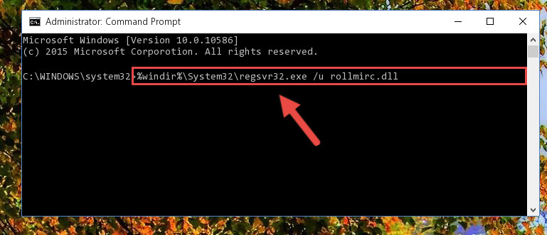 Cleaning the problematic registry of the Rollmirc.dll library from the Windows Registry Editor