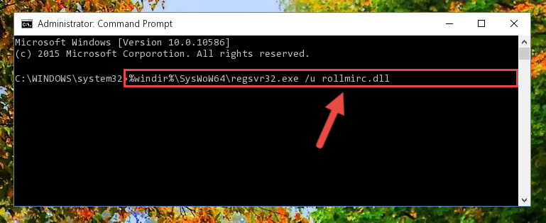 Uninstalling the damaged Rollmirc.dll library's registry from the system (for 64 Bit)