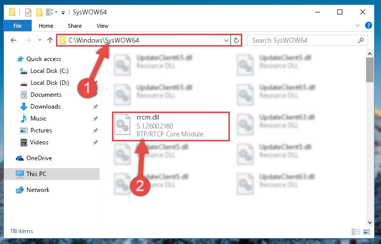 Pasting the Rrcm.dll library into the Windows/sysWOW64 directory