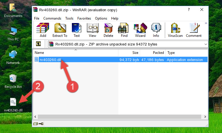 Extracting the Rv403260.dll file from the .zip file