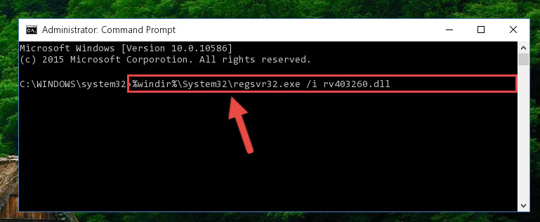 Reregistering the Rv403260.dll file in the system