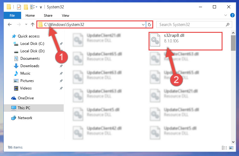 Copying the S32rap8.dll file into the Windows/System32 folder
