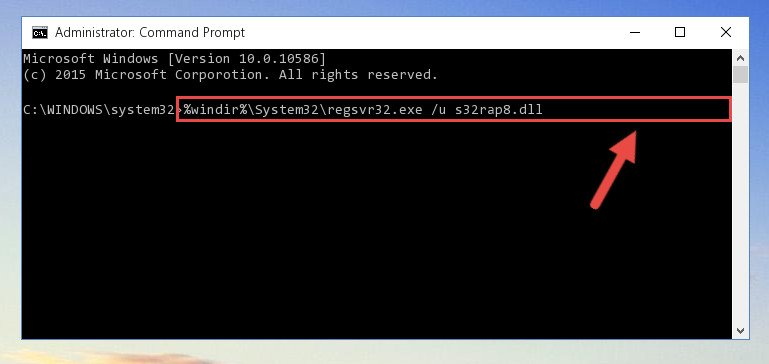 Deleting the S32rap8.dll file's problematic registry in the Windows Registry Editor