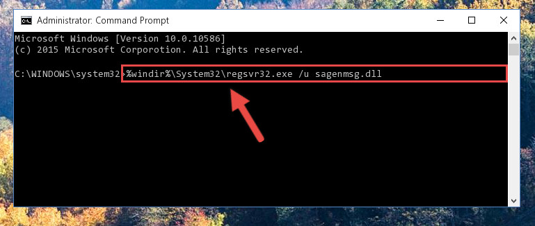 Deleting the damaged registry of the Sagenmsg.dll