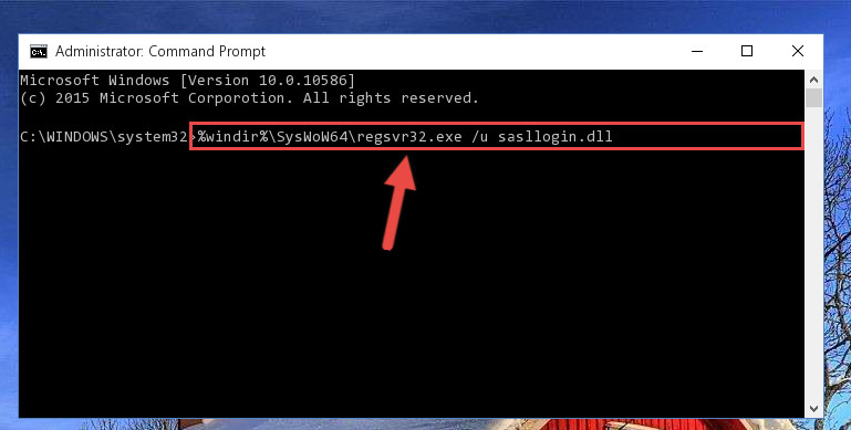 Uninstalling the damaged Sasllogin.dll file's registry from the system (for 64 Bit)