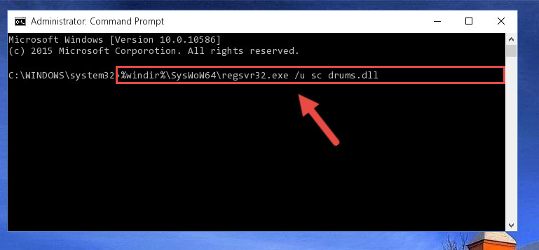 Uninstalling the damaged Sc drums.dll library's registry from the system (for 64 Bit)