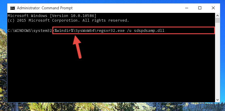 Uninstalling the Sdspdsamp.dll file's broken registry from the Registry Editor (for 64 Bit)
