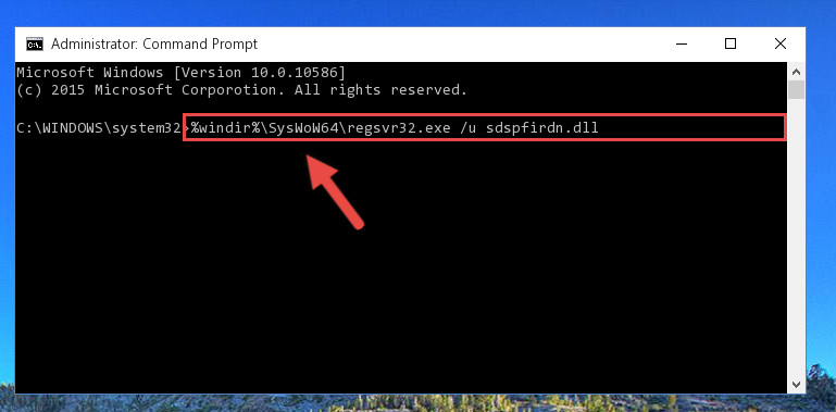 Uninstalling the damaged Sdspfirdn.dll file's registry from the system (for 64 Bit)