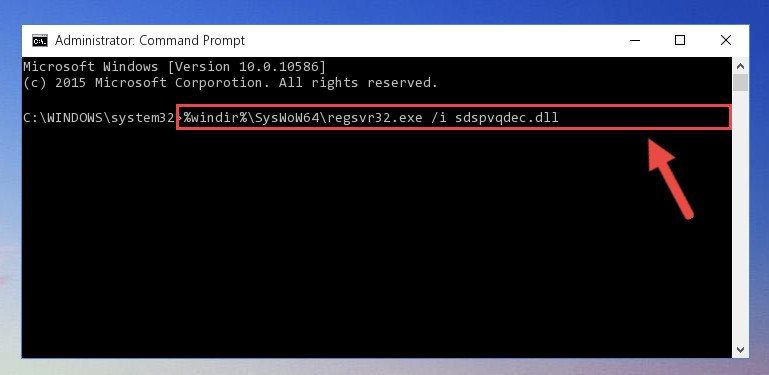 Reregistering the Sdspvqdec.dll file in the system (for 64 Bit)