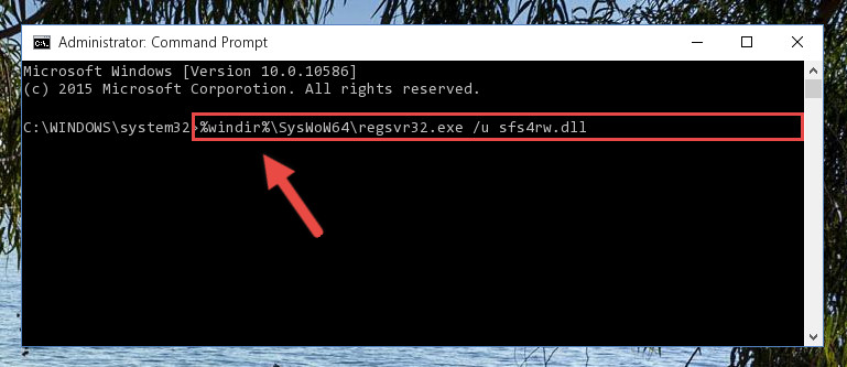 Uninstalling the damaged Sfs4rw.dll file's registry from the system (for 64 Bit)