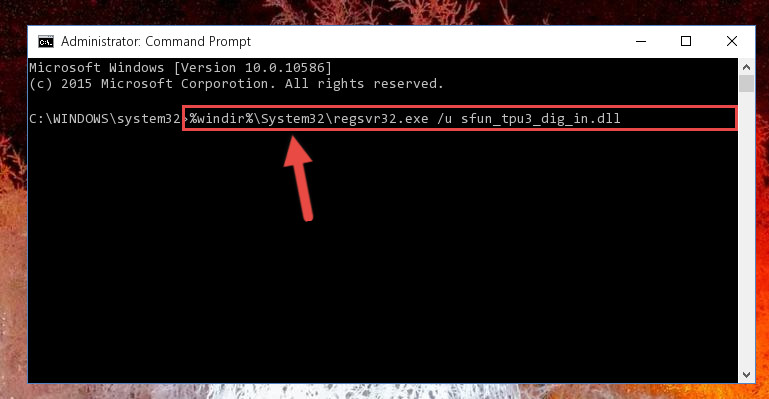 Deleting the damaged registry of the Sfun_tpu3_dig_in.dll