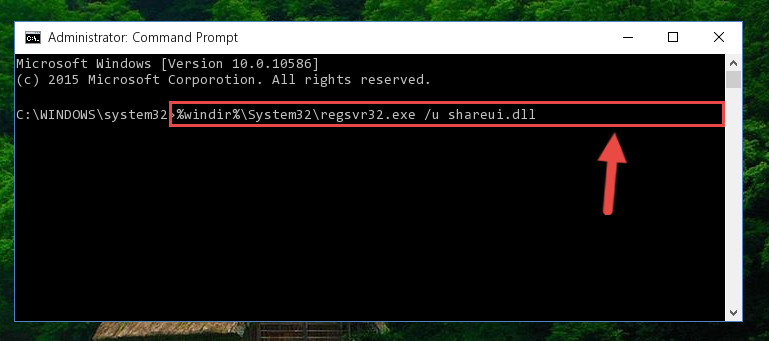 Uninstalling the Shareui.dll library from the system registry
