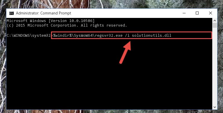 Reregistering the Solutionutils.dll file in the system (for 64 Bit)