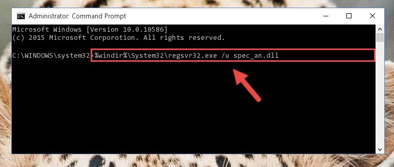 Deleting the damaged registry of the Spec_an.dll
