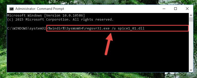 Uninstalling the damaged Spice1_01.dll library's registry from the system (for 64 Bit)