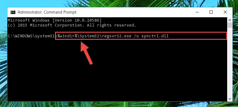 Deleting the damaged registry of the Synctrl.dll