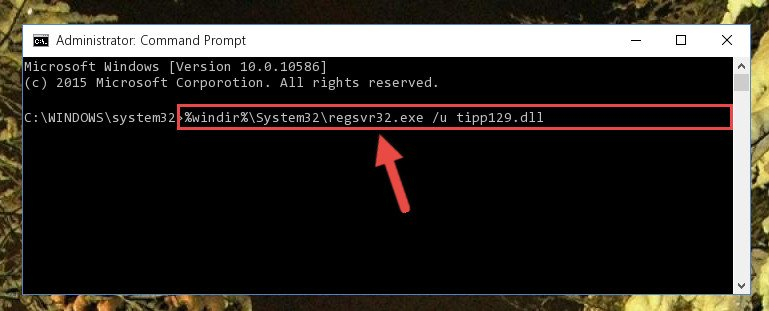 Deleting the Tipp129.dll file's problematic registry in the Windows Registry Editor