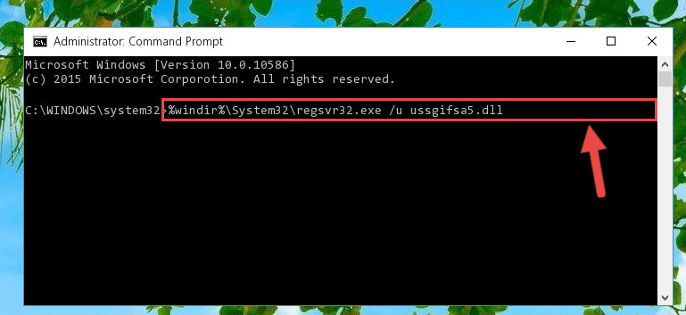 Uninstalling the Ussgifsa5.dll library from the system registry