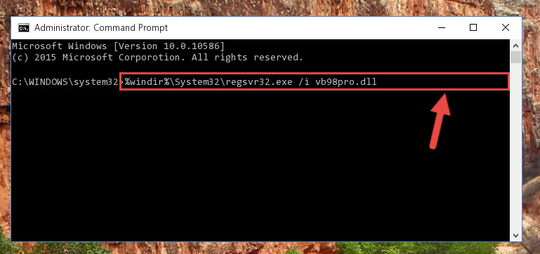 Reregistering the Vb98pro.dll file in the system