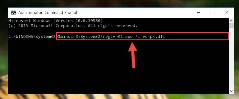 Creating a new registry for the Vcmpk.dll file in the Windows Registry Editor