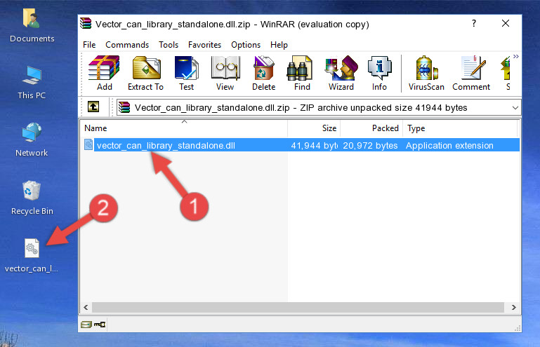 Extracting the Vector_can_library_standalone.dll library from the .zip file