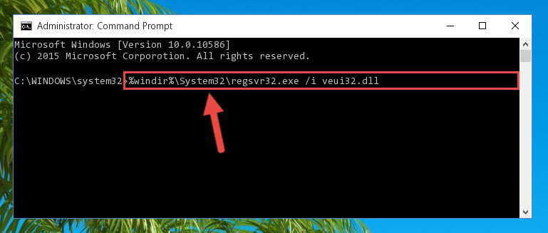 Reregistering the Veui32.dll file in the system